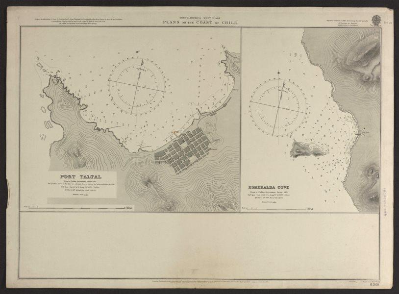Associate Product Chile coast. Port Taltal & Esmeralda Cove. Admiralty nautical sea chart 1906 map