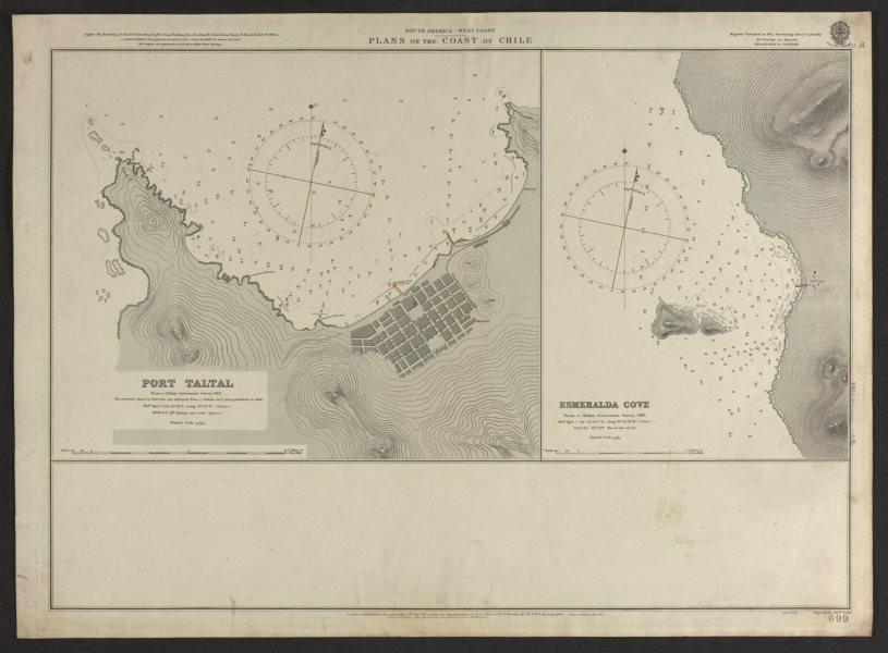 Associate Product Chile coast. Port Taltal. Esmeralda Cove. Admiralty nautical sea chart 1906 map