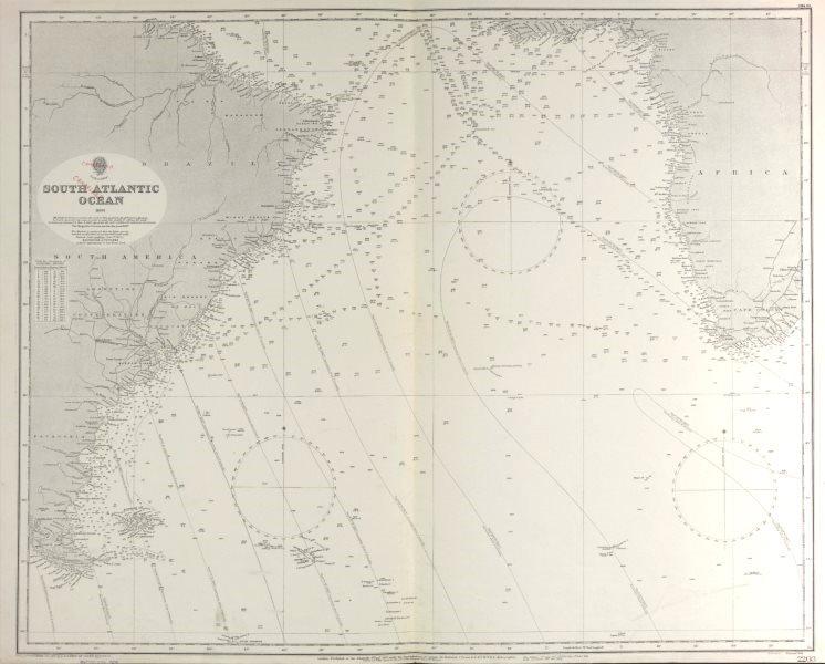 South Atlantic Ocean Admiralty nautical sea chart Depth soundings
