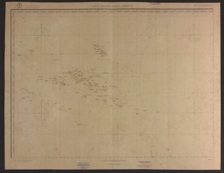 Associate Product South Pacific Ocean. French Polynesia Cook Islands. US Navy sea chart 1895 map