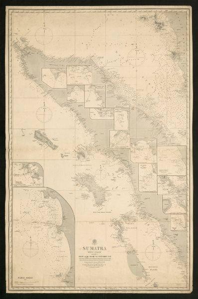 Associate Product Sumatra West Coast. Achi Head - Tyingkok Bay. Admiralty sea chart 1888 old map