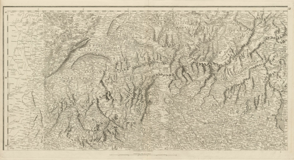 Associate Product Alps. Savoie Piedmont Lombardy Aosta Southern Switzerland. CHAUCHARD 1800 map