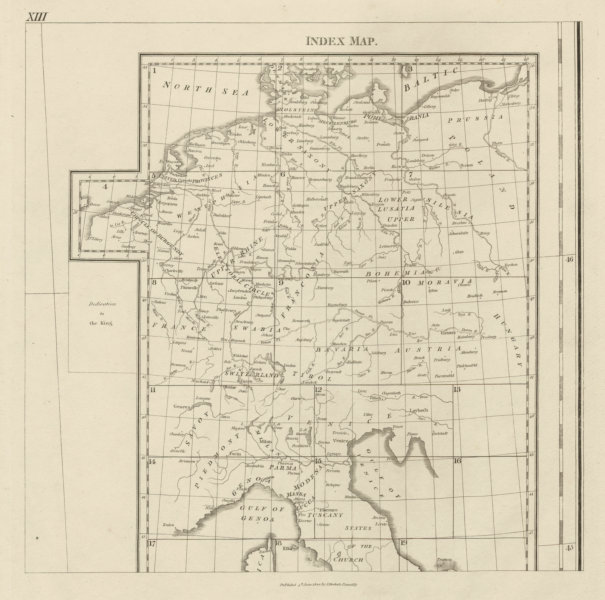 Associate Product Central Europe rivers & regions. Germany Switzerland Austria. CHAUCHARD 1800 map