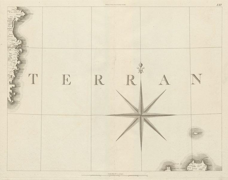 Associate Product Sardinia East Coast & Palermo, Sicily. Italy. Tyrrhenian Sea. CHAUCHARD 1800 map