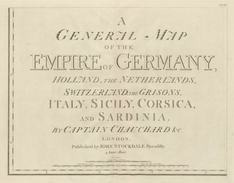 Associate Product General Map of the Empire of Germany…. Title sheet. CHAUCHARD/STOCKDALE 1800
