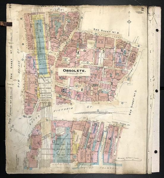 Associate Product London EC4Y EC4V Blackfriars Queen Victoria Street New Bridge St GOAD 1904 map