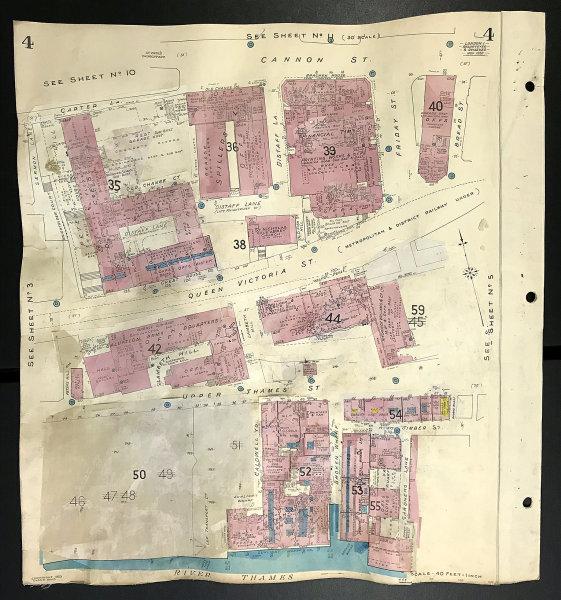 Associate Product London EC4V EC4M Cannon/Queen Victoria/Upper Thames Street FT GOAD 1959 map