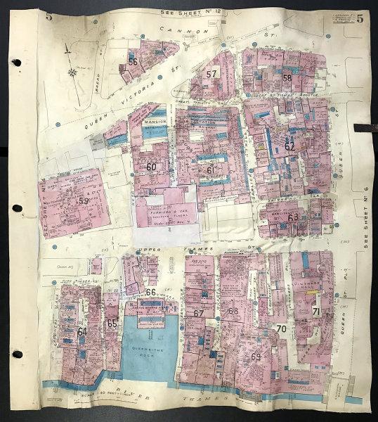 Associate Product London EC4V EC4M Upper Thames Street Garlick Hill Queenhithe GOAD 1957 old map
