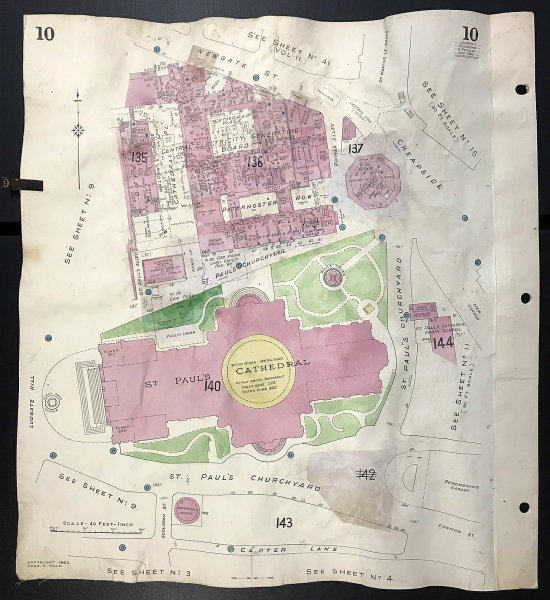 Associate Product London EC4M St Paul's Cathedral Newgate Street Paternoster Row GOAD 1962 map