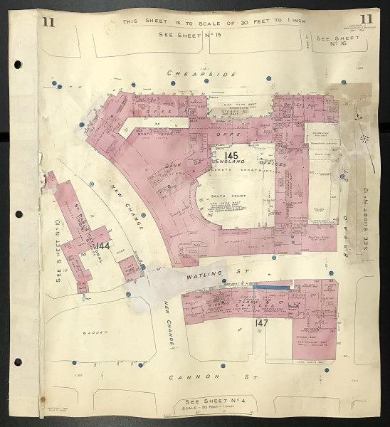 London EC4M Cheapside Watling Street Cannon St Bread St New Change GOAD 1956 map