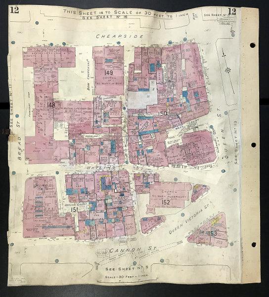 Associate Product London EC4M Watling Street Cheapside Queen St Bow Lane Churchyard GOAD 1942 map