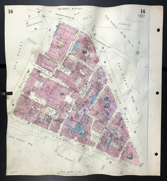 Associate Product London EC4N EC4R Mansion House Walbrook Cannon/King William Street GOAD 1935 map