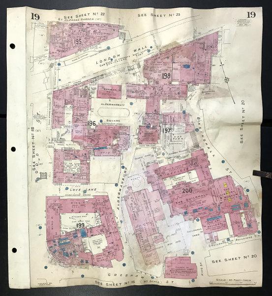 Associate Product London Wall EC2V Guildhall Gresham Street Aldermanbury Wood St GOAD 1961 map