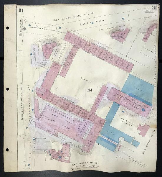 Associate Product London EC2Y EC1A Barbican Aldergate Street London School for Girls GOAD 1964 map