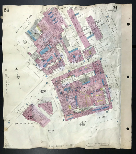 Associate Product London EC2Y EC1Y Chiswell Street Brewery Beech St Whitecross St GOAD 1939 map