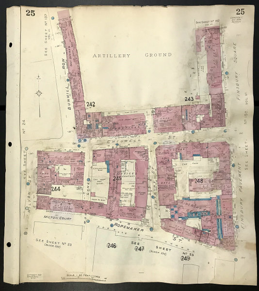 Associate Product London EC2Y EC1Y Artillery Ground - Ropemaker Street - Chiswell St GOAD 1934 map