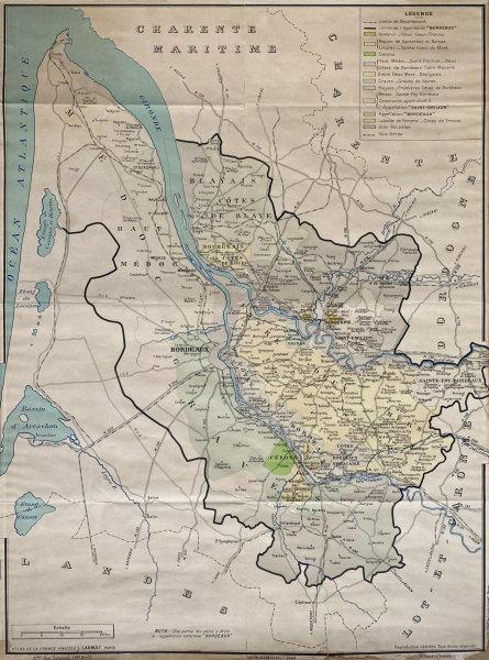 Les Vins de Bordeaux Carte Générale Wall Map 98 x 73 cm. LARMAT wine map 1943