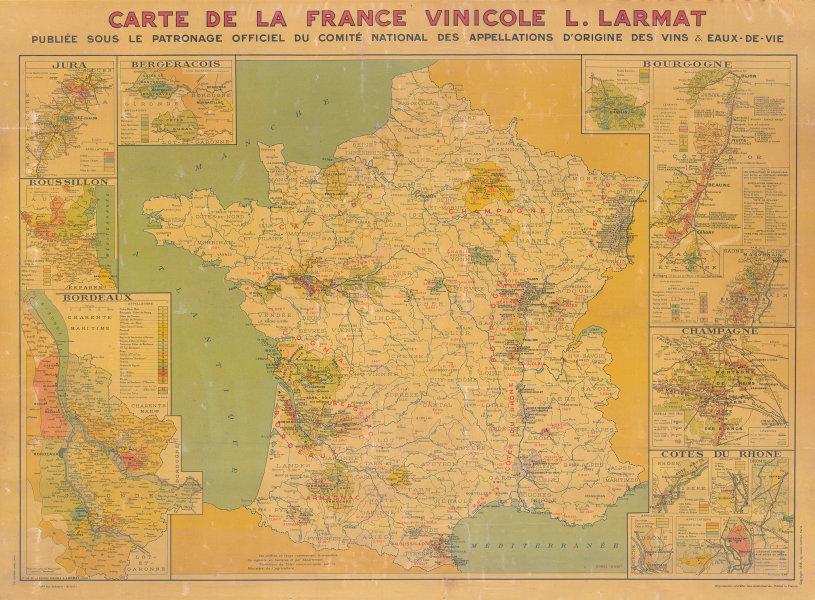 LA FRANCE VINICOLE. Large wine wall map 85x115cm. LARMAT 1945 old vintage