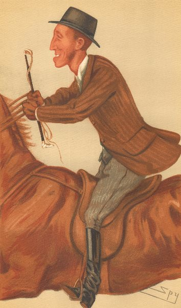 Associate Product VANITY FAIR SPY CARTOON. James Lowther 'Jim'. Riding a horse. By Spy. 1877