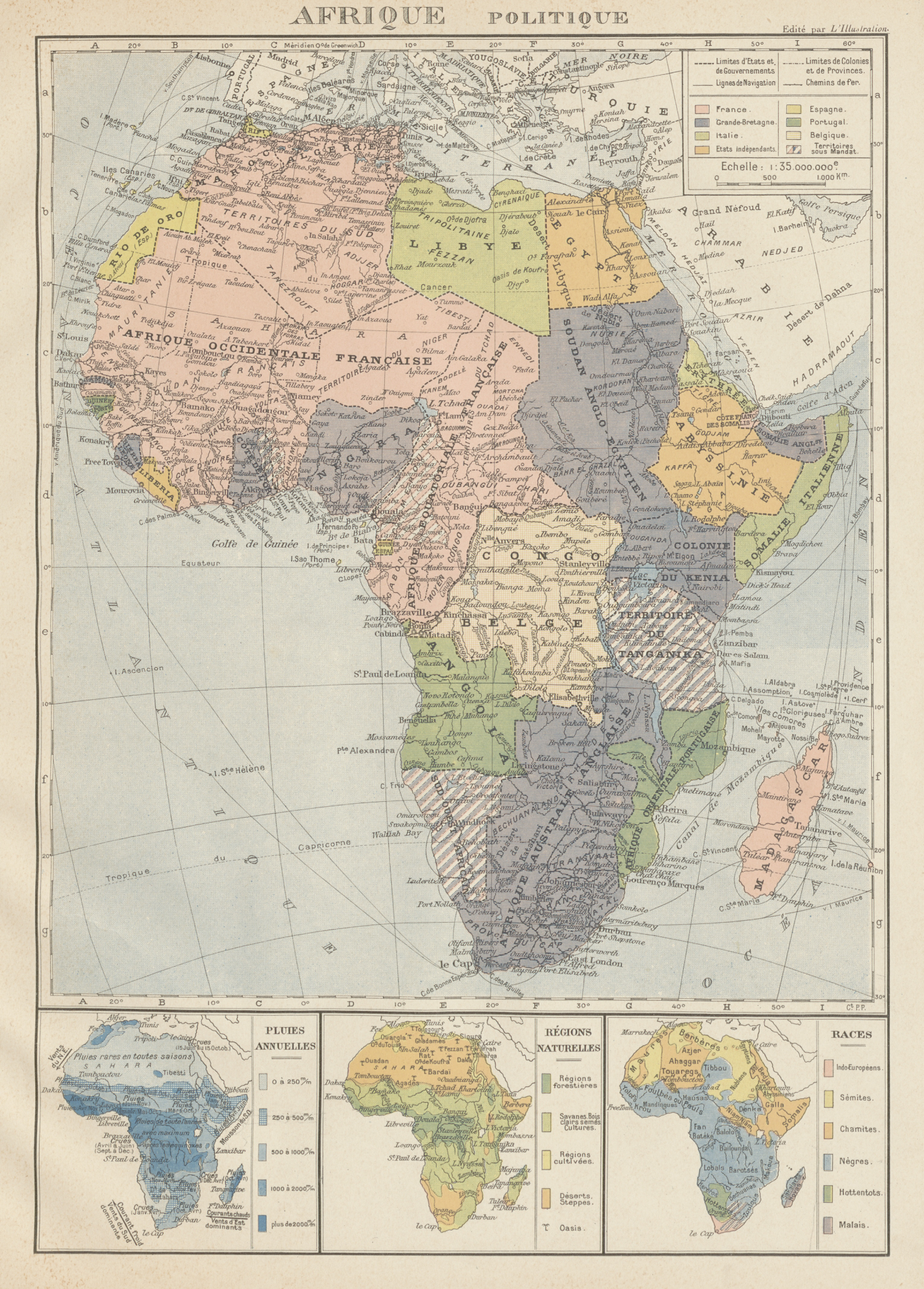 Associate Product COLONIAL AFRICA Afrique. League of Nations Mandates. Ethnicity 1929 old map