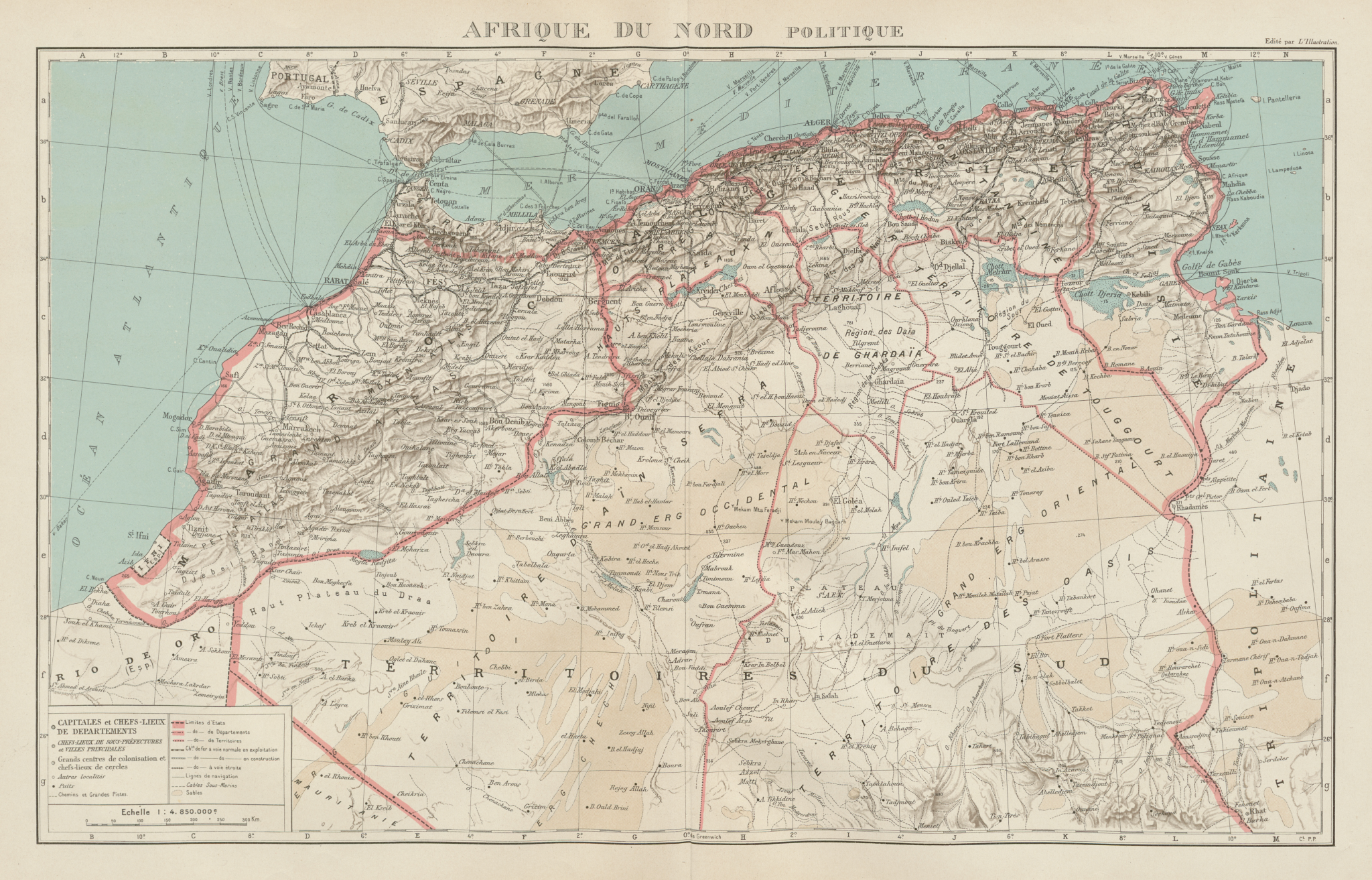 Associate Product COLONIAL FRENCH NORTH AFRICA. Afrique du Nord. Politique. Political 1929 map