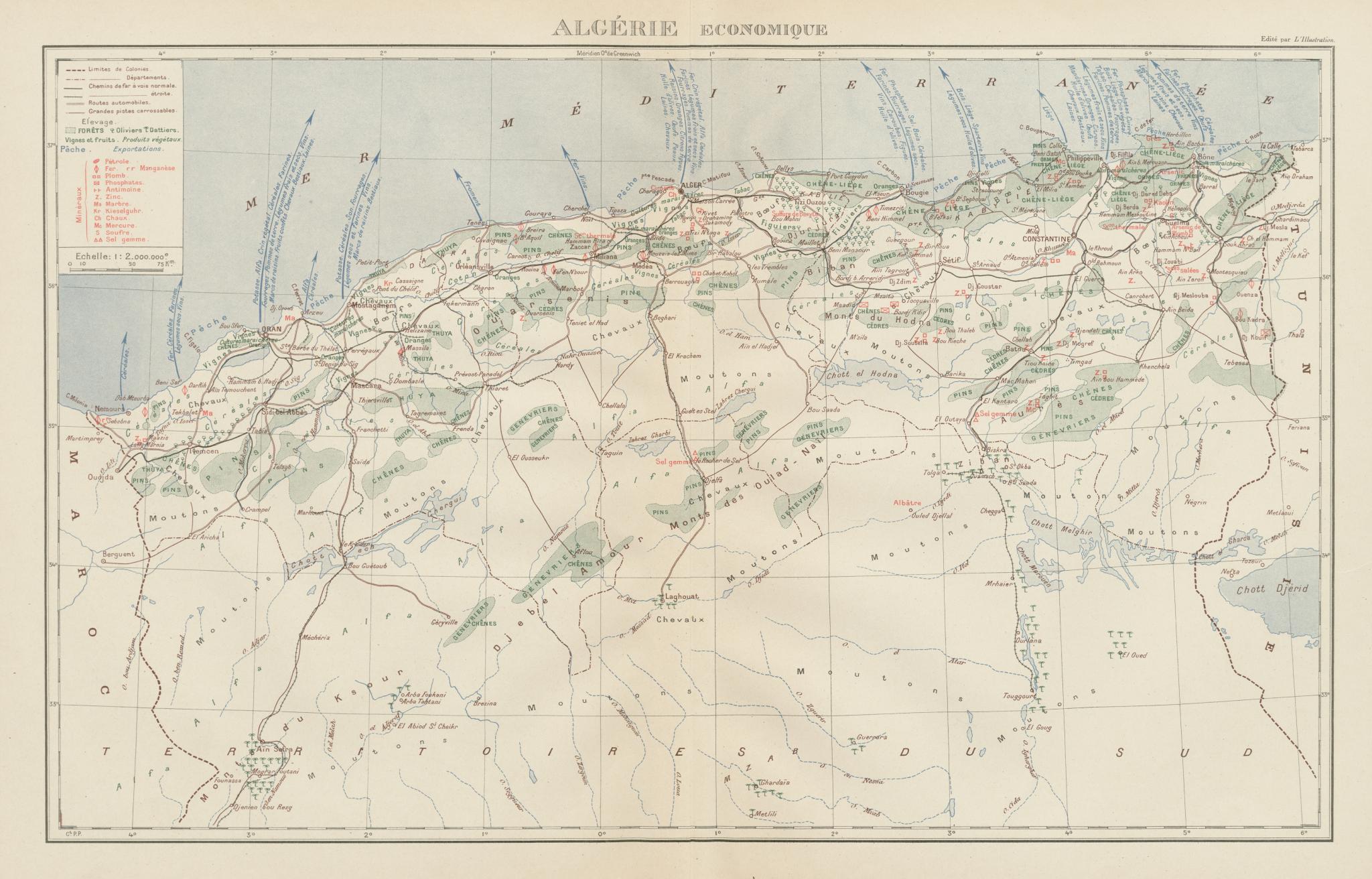 Associate Product FRENCH ALGERIA ECONOMIC & RESOURCES. Algerie - Economique. Minerals 1929 map