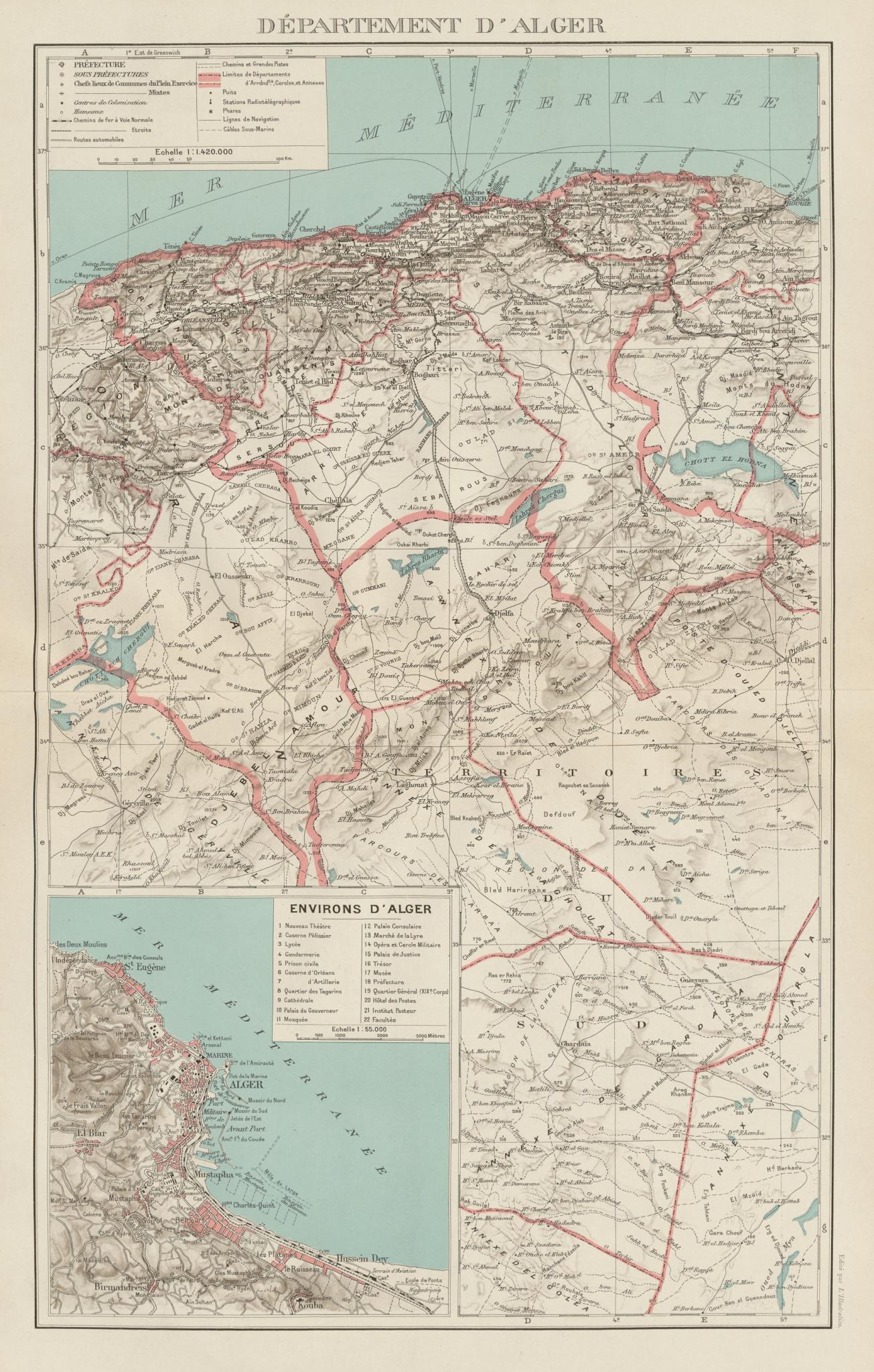 Associate Product FRENCH ALGERIA. Departement d'Alger. Algiers environs & city plan 1929 old map