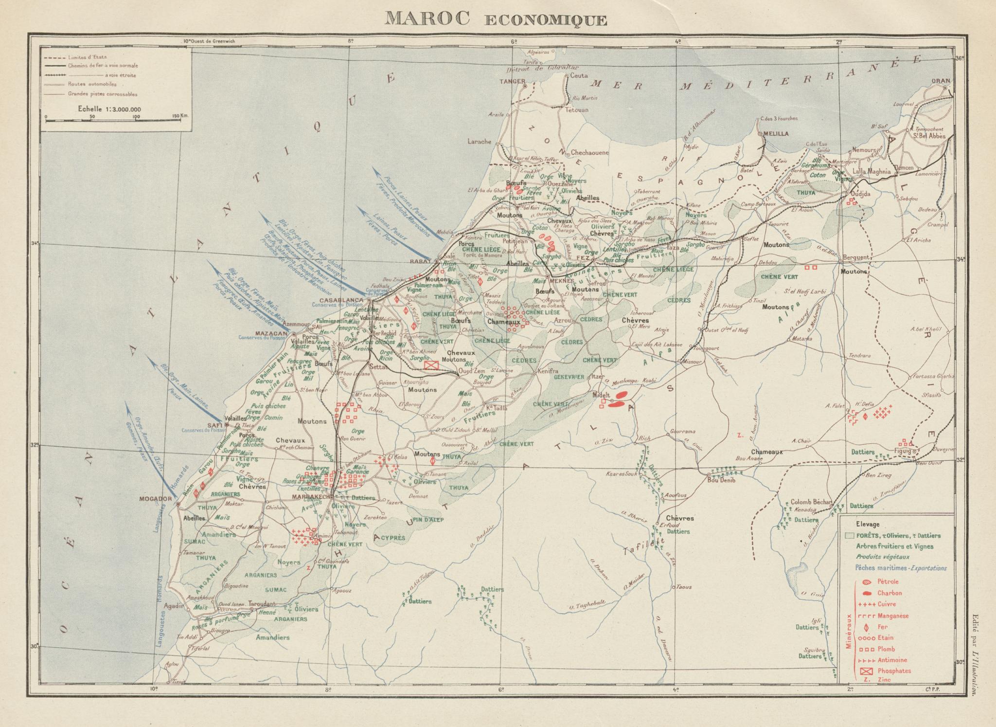 Associate Product FRENCH MOROCCO ECONOMIC/RESOURCES Maroc Protectorat français economique 1929 map