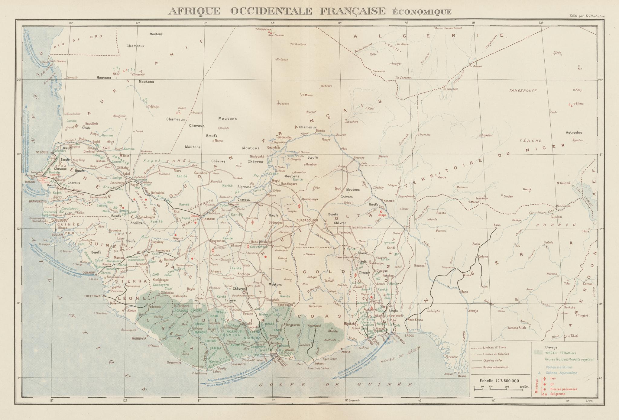 Associate Product FRENCH WEST AFRICA RESOURCES. Afrique Occidentale Française economique 1929 map