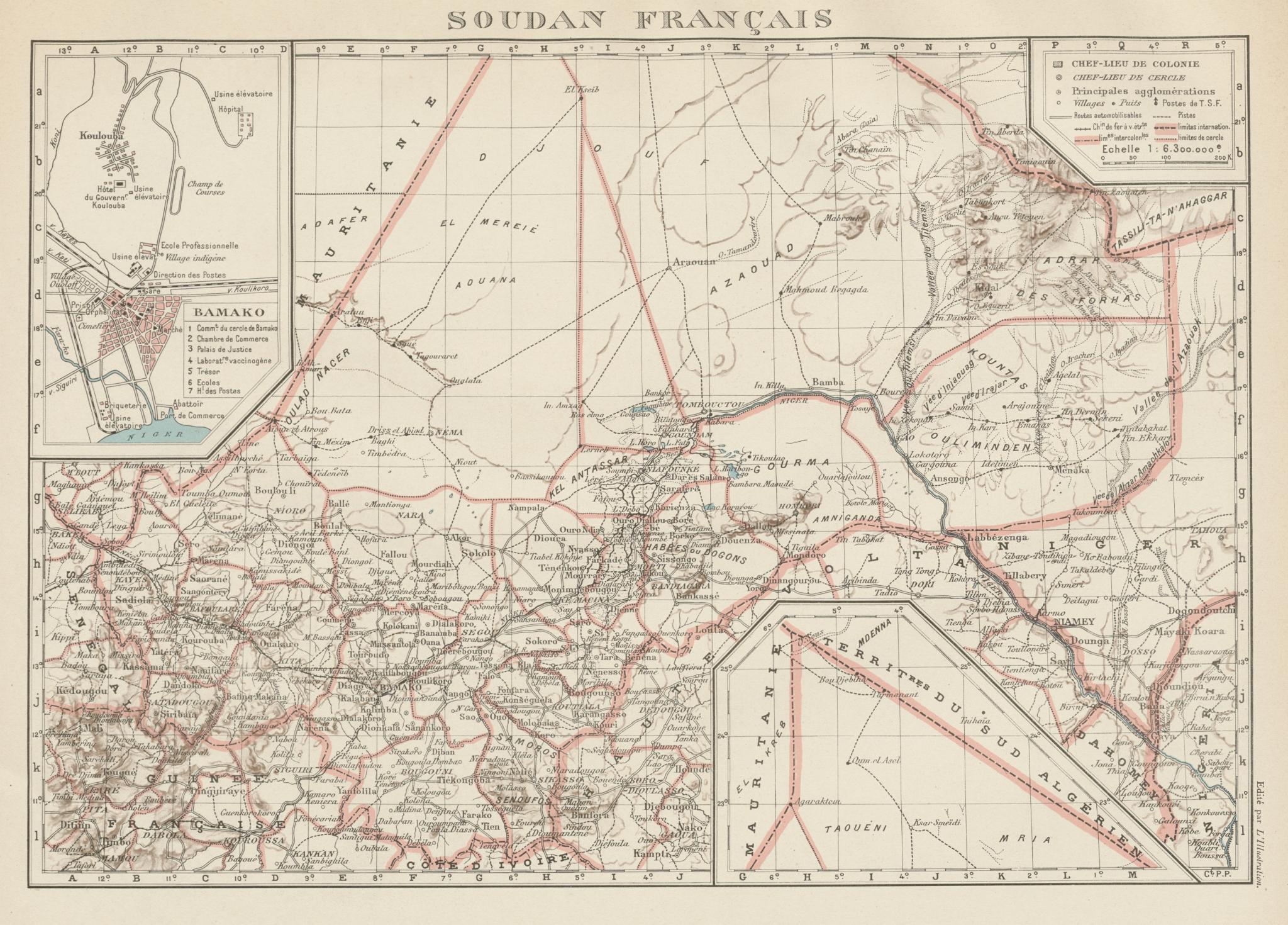 Associate Product FRENCH SUDAN (Now Mali). Soudan Français. Bamako city plan de la ville 1929 map