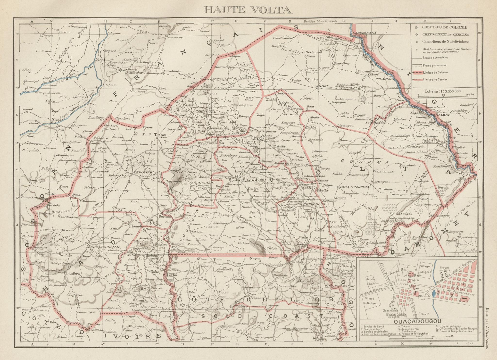 Associate Product UPPER/HAUTE VOLTA. Burkina Faso. French West Africa. Ouagadougou plan 1929 map