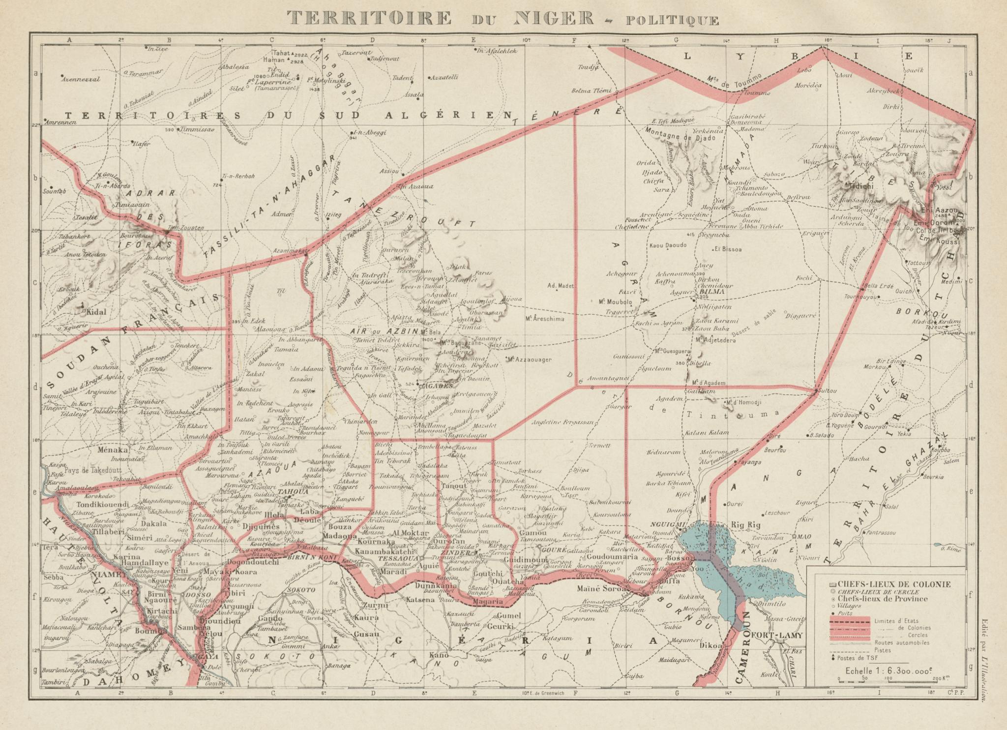 Associate Product TERRITOIRE DU NIGER. French West Africa. Afrique Occidentale Française 1929 map