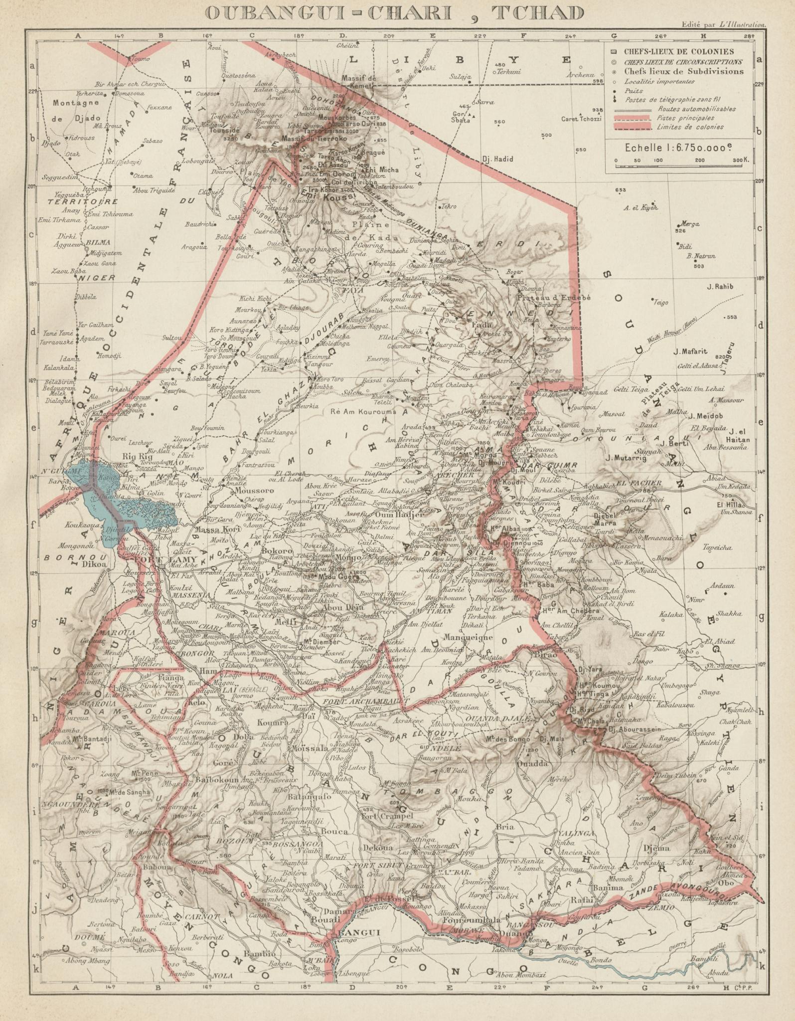 Associate Product FRENCH COLONIAL CHAD & UBANGI-SHARI (C.A.R.). Oubangui-Chari Tchad 1929 map