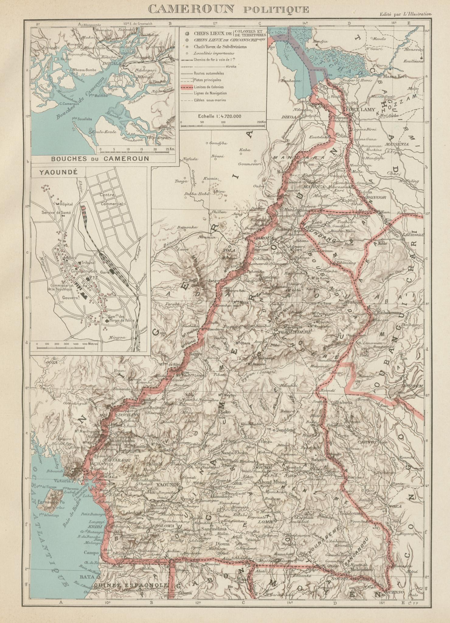 COLONIAL CAMEROON/Cameroun. Yaoundé plan. Afrique équatoriale française 1929 map