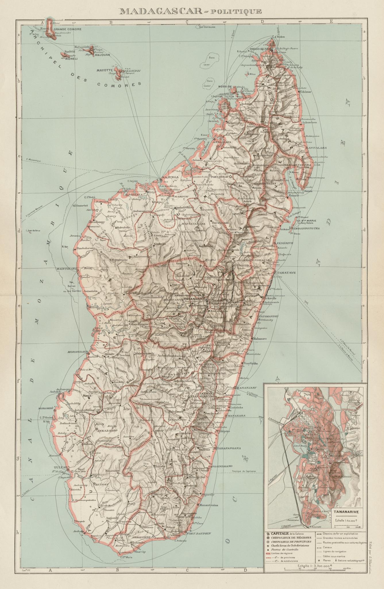 Associate Product COLONIAL MADAGASCAR. Tananarive/Antananarivo city plan. Comoros Mayotte 1929 map