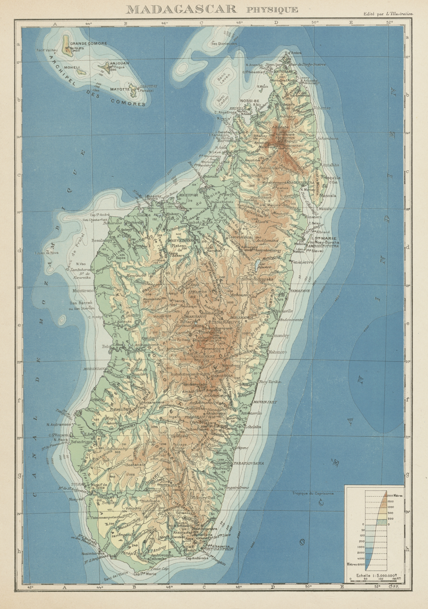 Associate Product COLONIAL MADAGASCAR. Physique physical. Comoros & Mayotte 1929 old vintage map