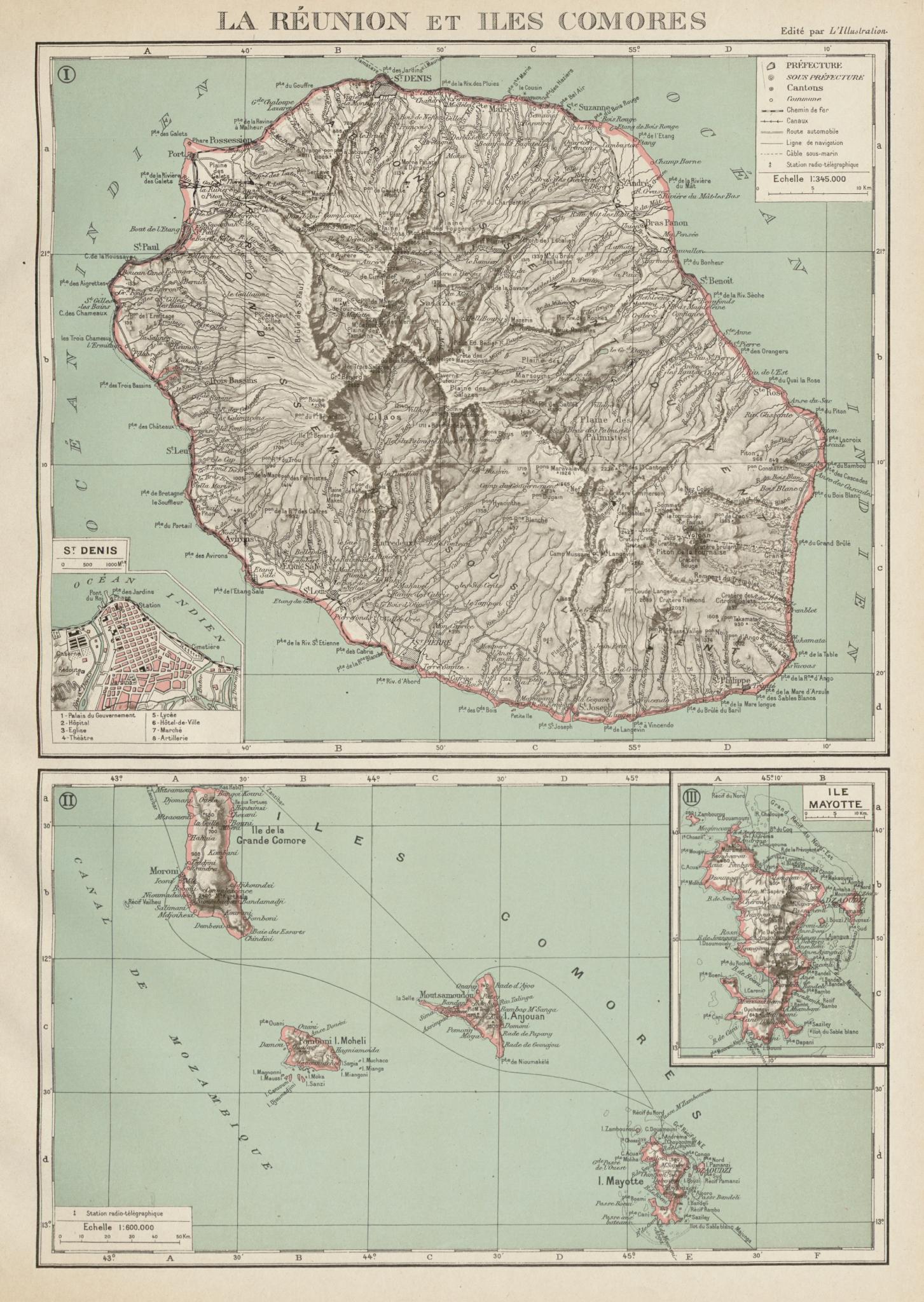 Associate Product FRENCH INDIAN OCEAN ISLANDS La Réunion Comores/Comoros Mayotte St Denis 1929 map
