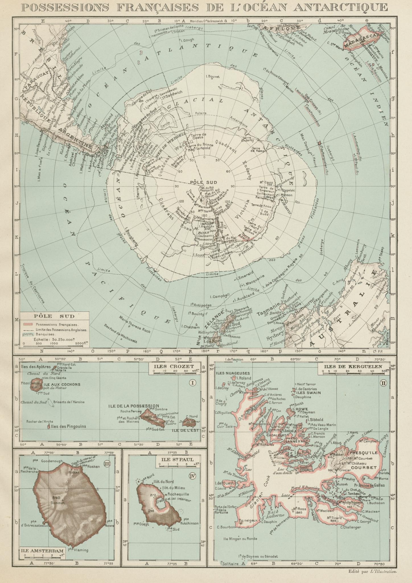 Associate Product FRENCH ANTARCTIC Terres australes françaises Crozet Amsterdam Kerguelen 1929 map