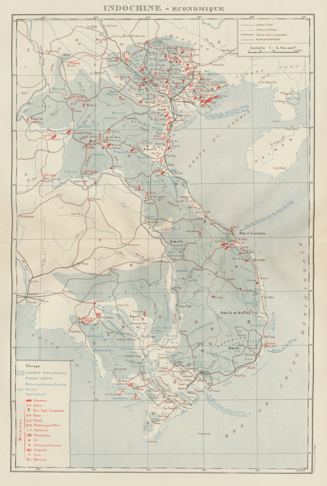 Associate Product COLONIAL FRENCH INDOCHINA. Indochine française. Economique. Economic 1929 map