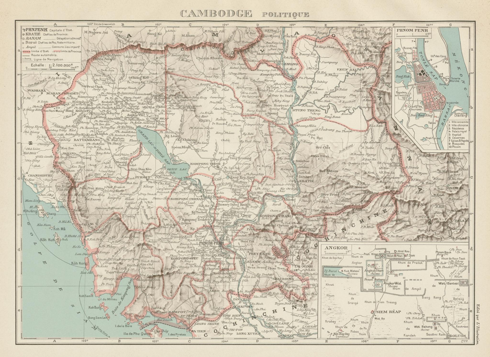 CAMBODIA/Cambodge. French Indochina. Angkor Wat & Phnom Penh plans 1929 map