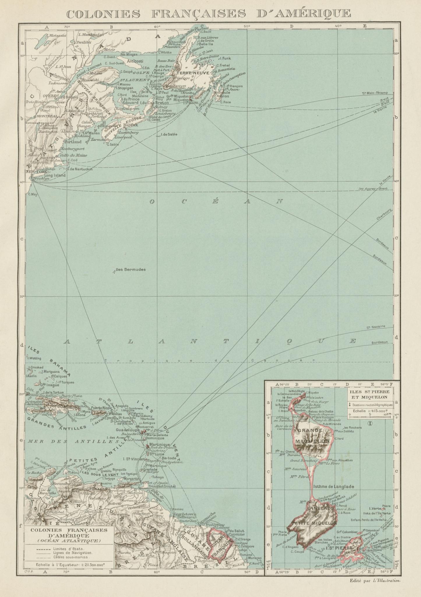 Associate Product FRENCH AMERICAS. Colonies Françaises d' Amerique. St-Pierre et Miquelon 1929 map