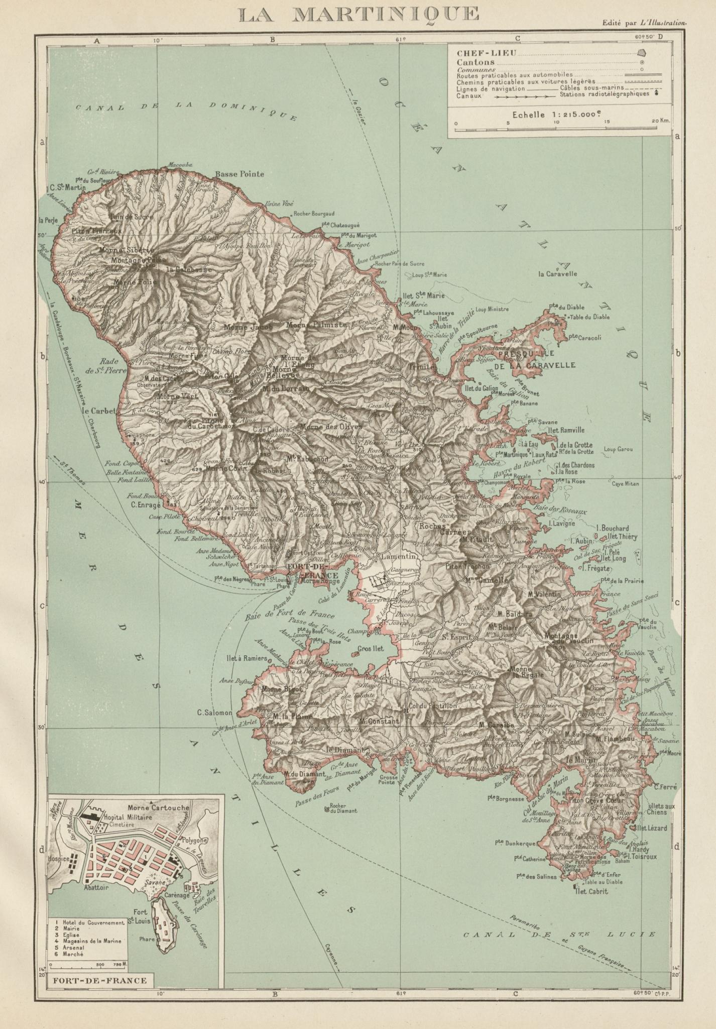 Associate Product MARTINIQUE. Fort-de-France plan. Antilles françaises French West Indies 1929 map