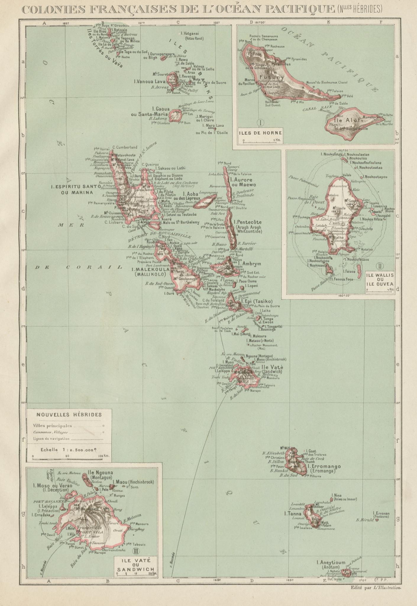Associate Product COLONIAL VANUATU. Nouvelles/New Hebrides. Efate Wallis & Futuna. Uvea 1929 map